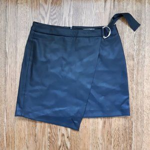 leather wrap around mini skirt with belt detail